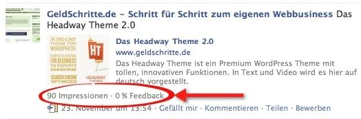 Facebook Impressionen und Feedback