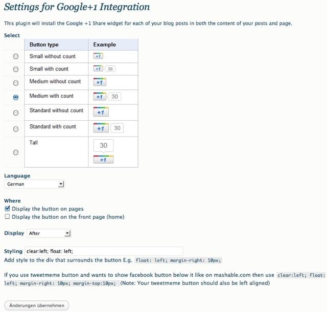 Google +1 Button Plugin Einstellungen