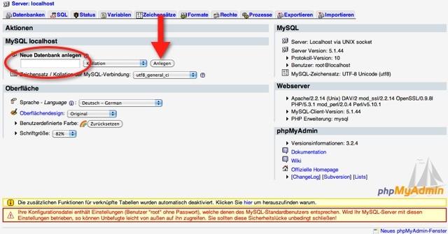 phpMyAdmin Neue Datenbank anlegen
