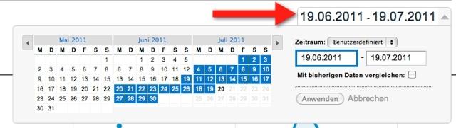 Google Analytics - Datum wählen