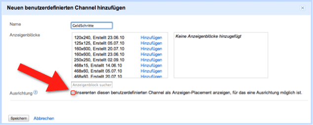 Google AdSense - Anzeigen-Placements