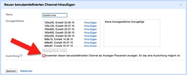 Google AdSense - Anzeigen-Placements