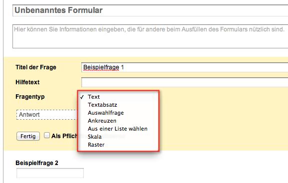 Google Docs Formulare