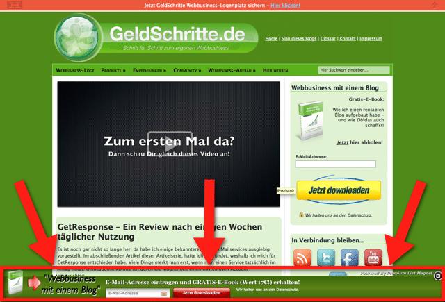 GeldSchritte mit Bottom-Slider des Premium List Magnet Plugins