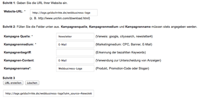 Google Analytics URL-Erstellungs-Tool