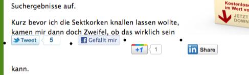 Sharebar im Content von GeldSchritte.de