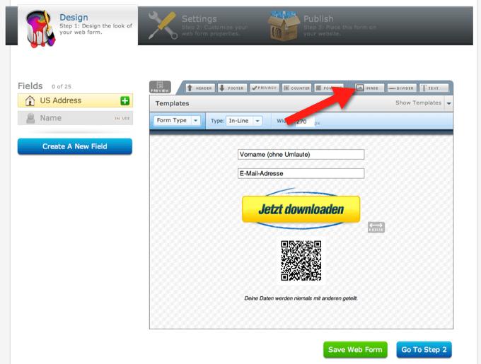 Im AWeber-Formular den QR-Code als Bild einfügen