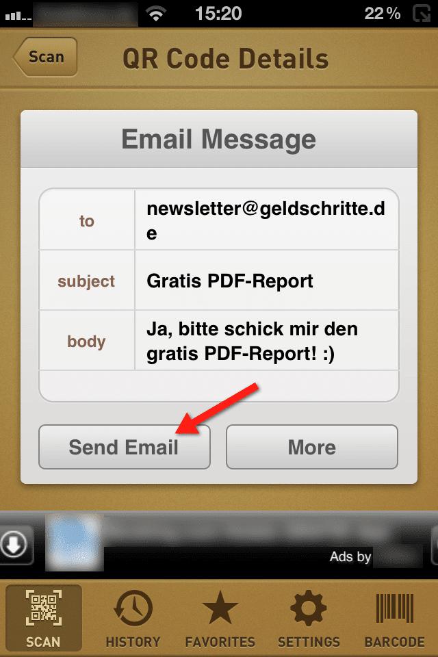 iPhone QR Code Scanner GeldSchritte.de