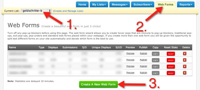 AWeber Web Form - Optin-Formular anlegen
