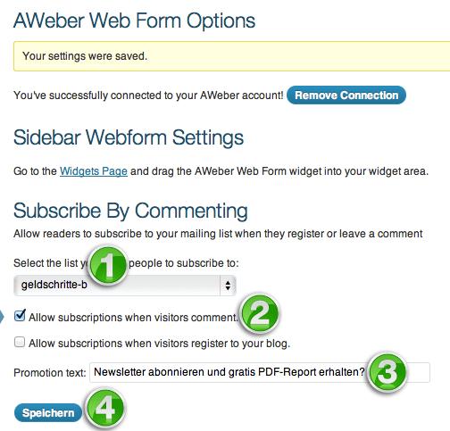 AWeber: Eintragung durch Kommentare - Einstellungen