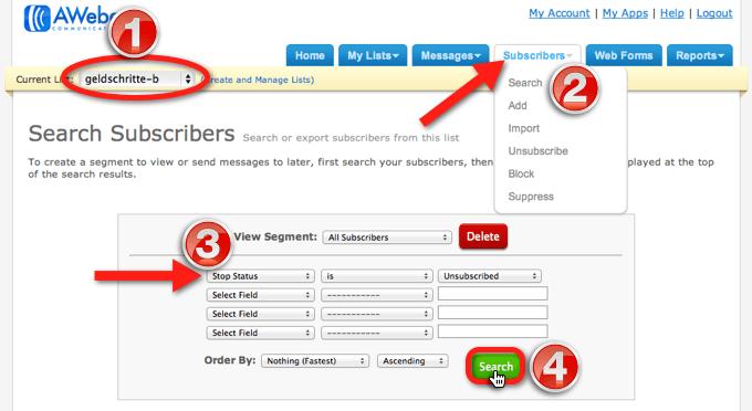 Unsubscribed E-Mail-Adressen bei AWeber herausfiltern
