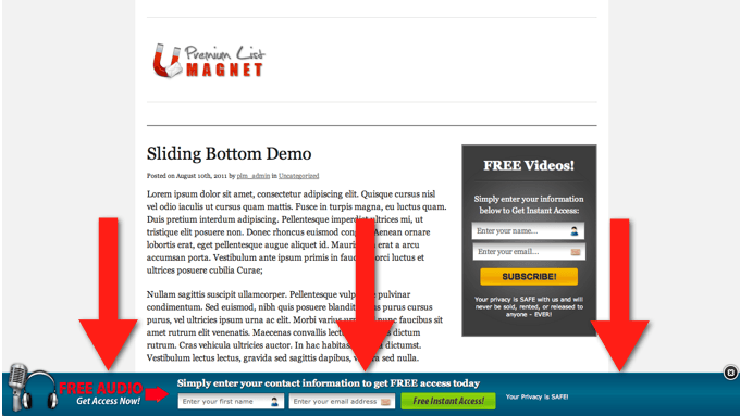 Premium List Magnet Bottom Slider Demo