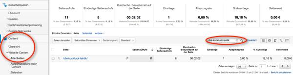 Spezielle Content-Seite in Google Analytics suchen