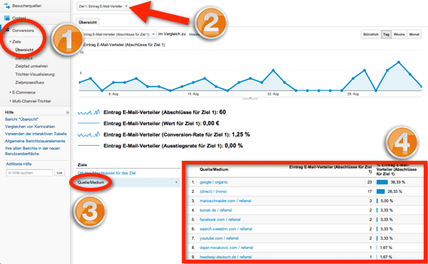 Google Analytics Ziel Auswertung