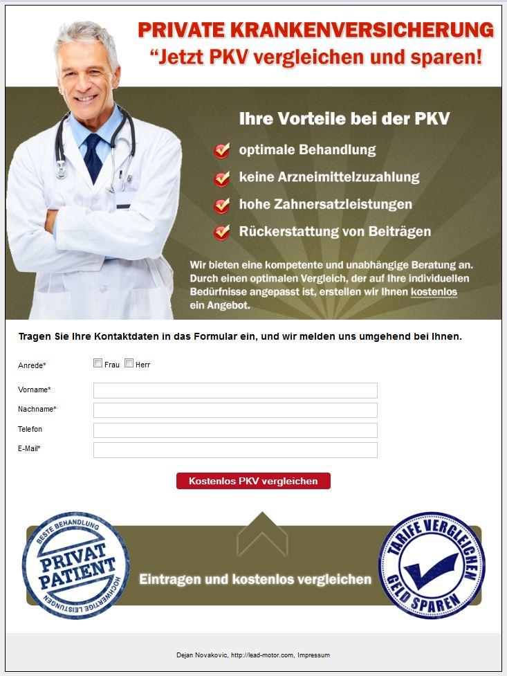 PKV Landingpage