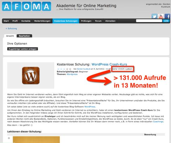 WordPress Crash-Kurs AFOMA
