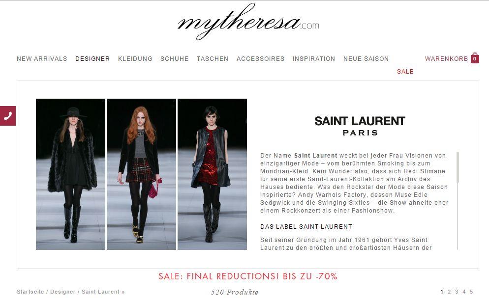 MyTheresa Landingpage