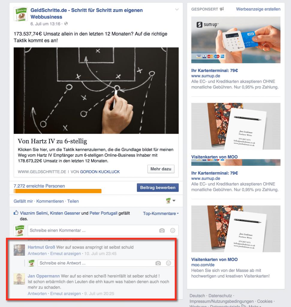 Facebook Reaktionen auf meine Story