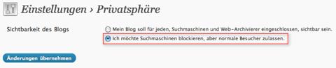 WordPress Suchmaschinen blockieren