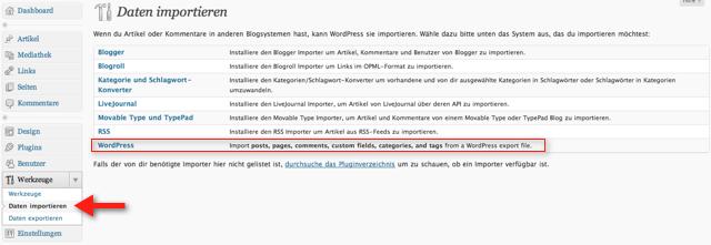WordPress Import-Funktion